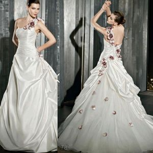 Demetrios One Shoulder Floral Wedding Dress
